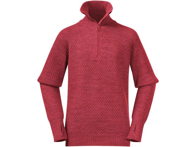Bergans Ulriken Wool Pull Jumper Adolescents, light dahlia red